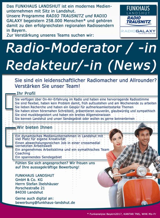 Stellenanzeige: Funkhaus Landshut sucht Radio-Moderator/in Redakteur/in (News)