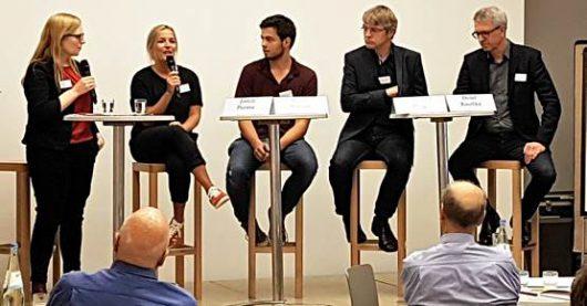 Moderatorin Colleen Sanders, Judith Pamme, Marco Stoever, Christian Pflug, Detlef Kuschka auf dem Medientreff NRW 2017 (Bild: ©Sascha Fobbe)