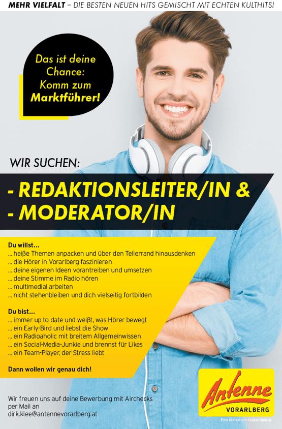 ANTENNE VORARLBER sucht Redaktionsleiter/in und Moderator/in