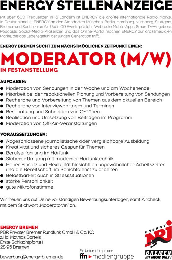 Stellenanzeige: ENERGY Bremen sucht zum nächstmöglichen Zeitpunkt einen Moderator (m/w) in Festanstellung.