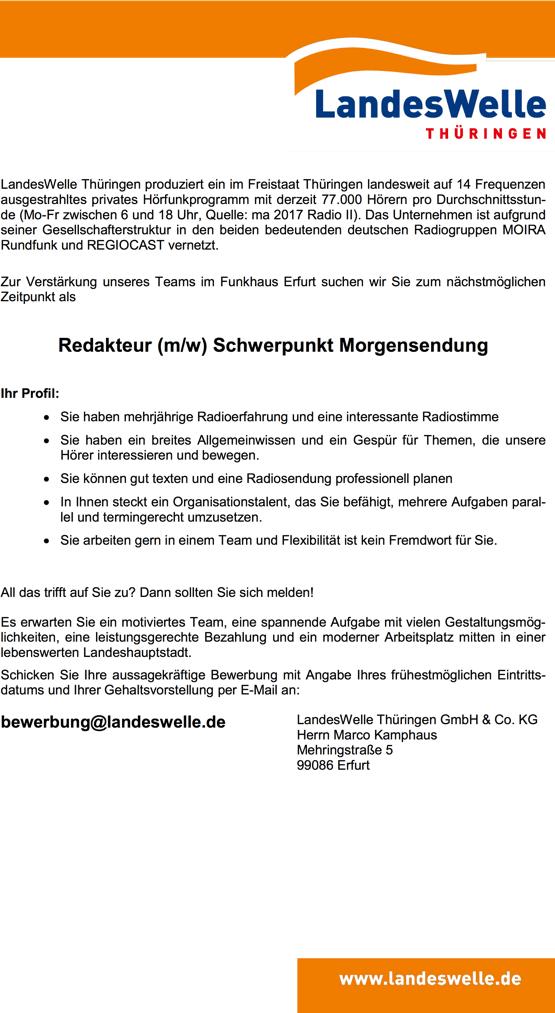 Landeswelle Thüringen sucht Redakteur (m/w) Schwerpunkt Morgensendung