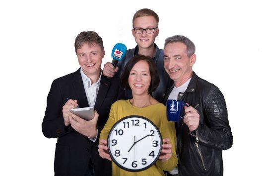 Radio Brocken Morgenshow: Dirk Rosenberg, Amrei Gericke, Simon Dietze und Tilo Liebsch (Bild: Radio Brocken)