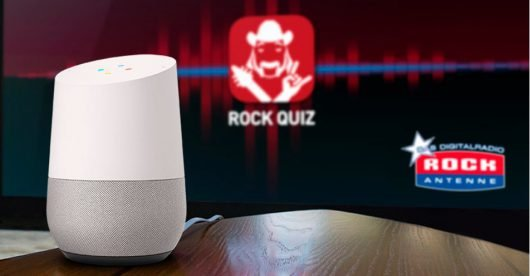 Google Home Mini mit Rock Quiz App