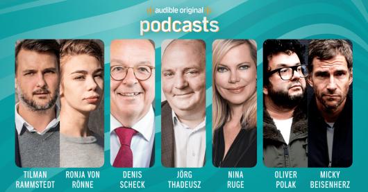 Audible startet Podcast-Programm mit u.a. Der Spiegel, 11 Freunde und Brand Eins / Prominente Gastgeber für die Audible Original Podcasts: Tilman Rammstedt, Ronja von Rönne, Denis Scheck, Jörg Thadeusz, Nina Ruge, Oliver Polak & Micky Beisenherz (v.l.n.r.)
