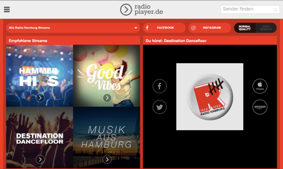 Radio Hamburg Streams (Bild: Screenshot Radio Hamburg)
