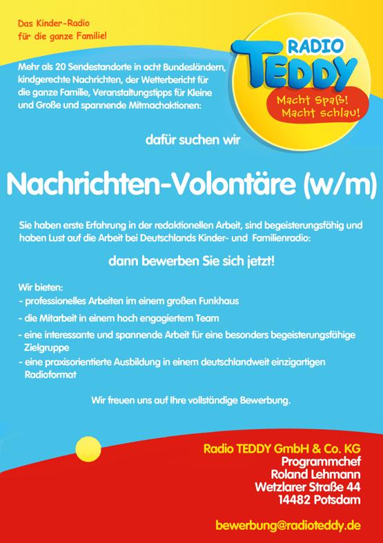 Radio TEDDY sucht Nachrichten-Volontäre (w/m)