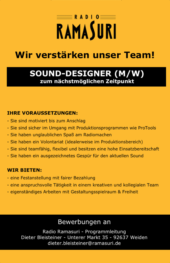 Radio Ramasuri in Weiden in der Oberpfalz verstärkt das Team und sucht einen Sound-Designer (m/w) zum nächstmöglichen Zeitpunkt.