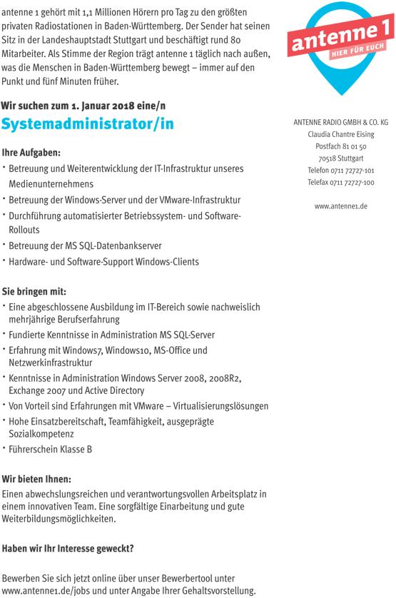 antenne 1 sucht eine/n Systemadministrator/in