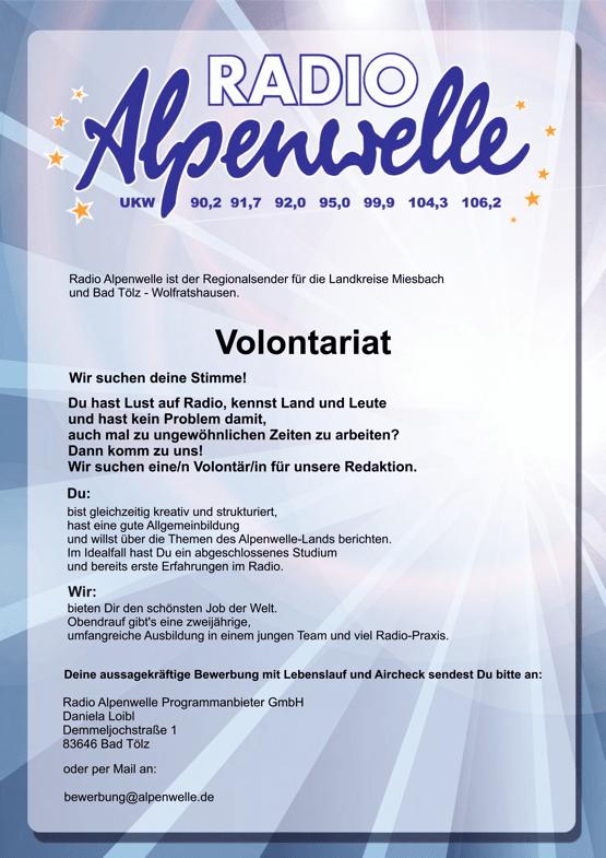 Radio Alpenwelle bietet Volontariat