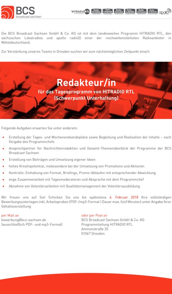 BCS Broadcast Sachsen sucht zum nächstmöglchen Zeitpunkt eine/n Redakteur/in für das Tagesprogramm von HITRADIO RTL in Dresden (Schwerpunkt Unterhaltung)