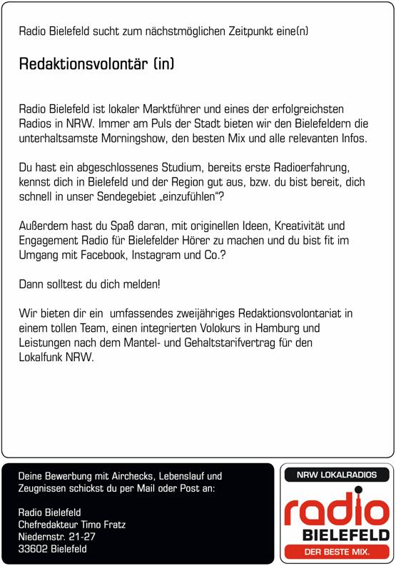 Radio Bielefeld sucht zum nächstnöglichen Zeitpunkt eine(n) Redaktionsvolontär(in)