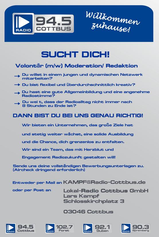 94,5 Radio Cottbus sucht eine/n Volontär (m/w) Moderation/Redaktion