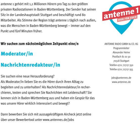 antenne 1 sucht Moderator/in und Nachrichtenredakteur/in