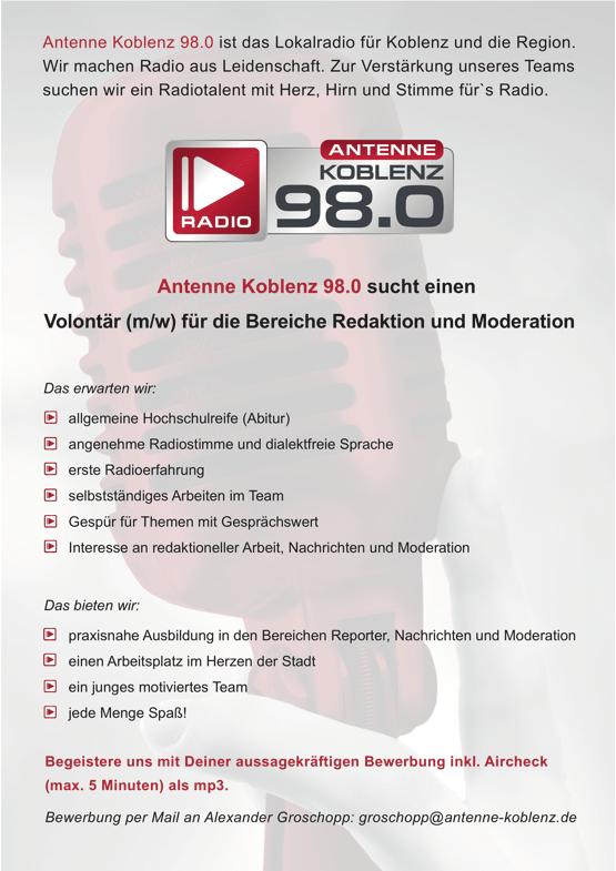 Antenne Koblenz 98.0 ist das Lokalradio für Koblenz und die Region und sucht einen Volontär (m/w) für die Bereiche Moderation und Redaktion.