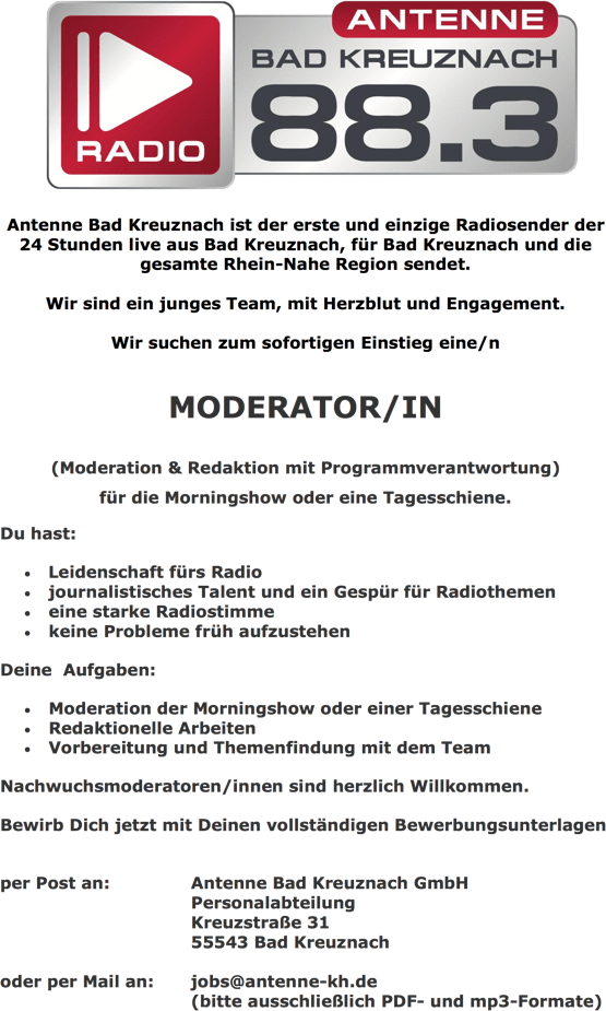 Antenne Bad Kreuznach sucht Moderator/in
