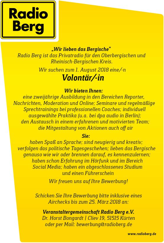Radio Berg ist das Privatradio für den Oberbergischen und Rheinisch-Bergischen Kreis und sucht zum 1. August 2018 eine/n Volontär/in.
