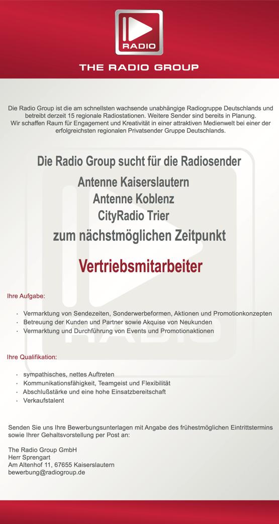 Radio Group sucht für die Radiosender Antenne Kaiserslautern, Antenne Koblenz und CityRadio Trier zum nächstmöglichen Zeitpunkt Vertriebsmitarbeiter (m/w)