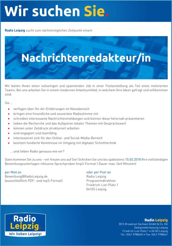 Radio Leipzig sucht zum nächstmöglichen Zeitpunkt eine/n Nachrichtenredakteur/in