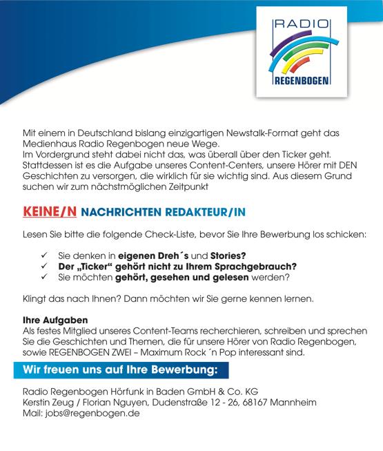 Mit einem in Deutschland bislang einzihgartigen Newstalk-Format geht das Medienhaus Radio Regenbogen neue Wege sucht KEINE/N Nachrichten-Redakteur/in