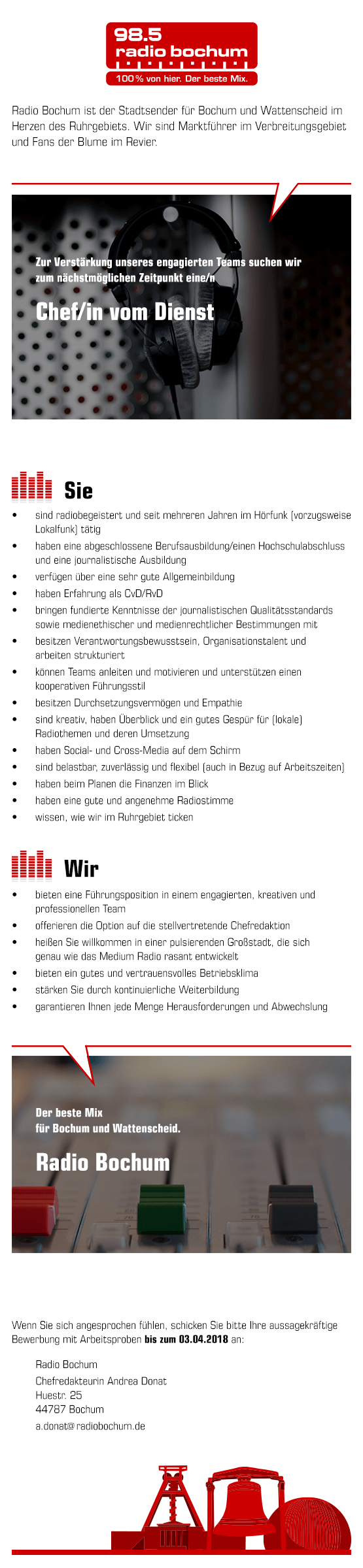 Radio Bochum sucht Chef/in vom Dienst