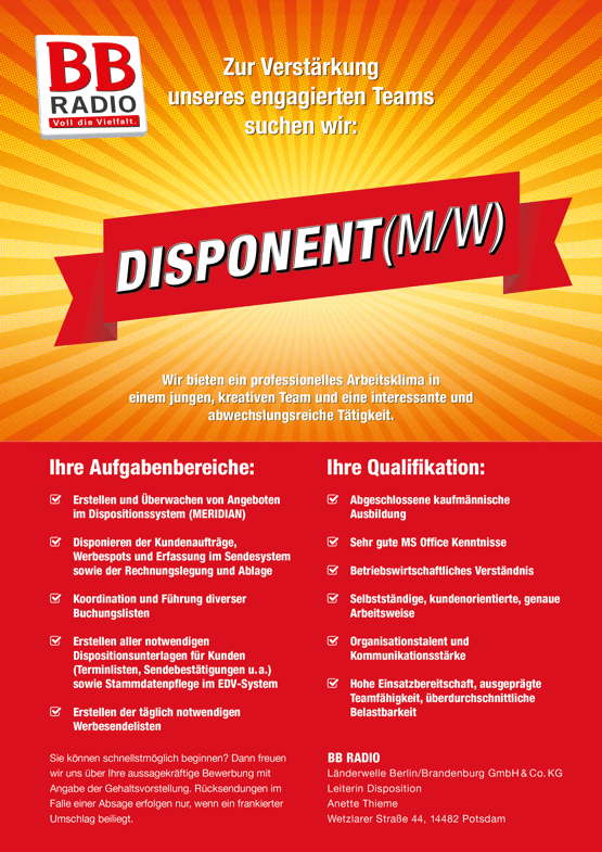 BB RADIO sucht Disponent (m/w)