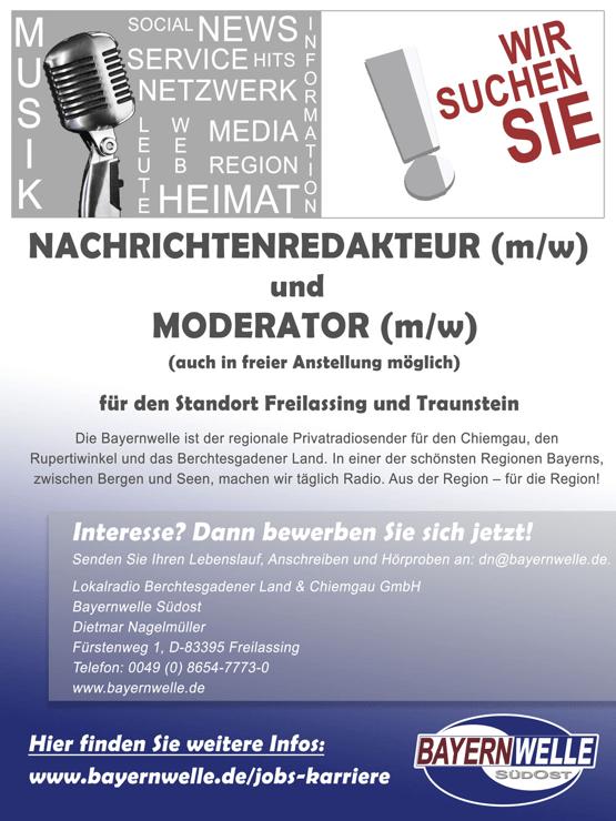 Bayernwelle sucht Nachrichtenredakteur/in und Moderator/in