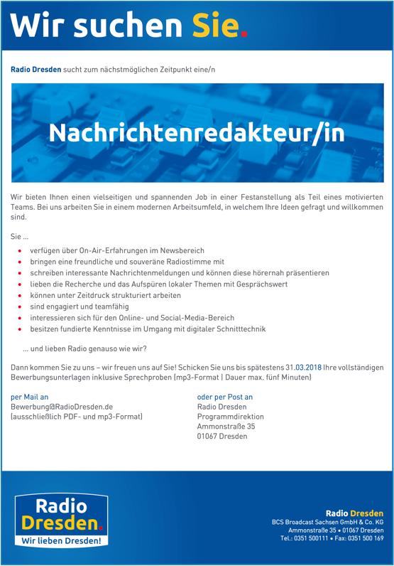 Radio Dresden sucht Nachrichtenredakteur/in. Wir bieten Ihnen einen vielseitigen und spannenden Job in einer Festanstellung als Teil eines motivierten Teams. Bei uns arbeiten Sie in einem modernen Arbeitsumfeld, in welchem Ihre Ideen gefragt und willkommen sind.