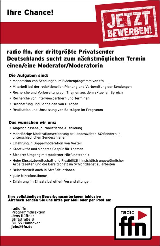 radio ffn, der drittgrößte Privatsender Deutschlands, sucht zum nächstmöglichen Termin einen/eine Moderator/Moderatorin