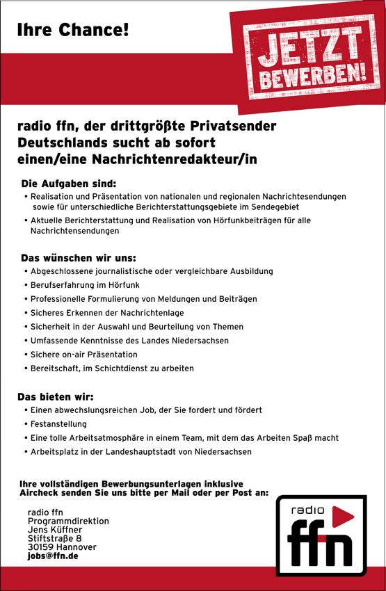 radio ffn, der drittgrößte Privatsender Deutschlands, sucht ab sofort eine/n Nachrichtenredakteur/in