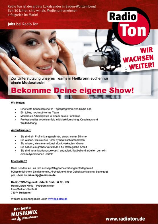 Zur Unterstützung des Teams in Heilbronn sucht Radio Ton eine/n Moderator/in: Bekomme Deine eigene Show!
