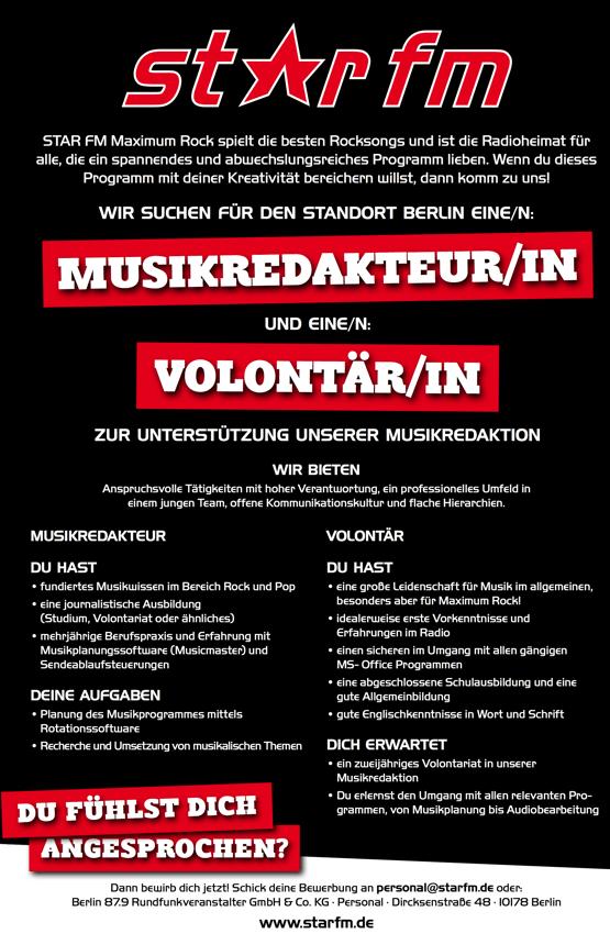 STAR FM sucht für den Standort Berlin eine/n Musikredakteur/in und ein/n Volontär/in zur Unterstützung der Musikredaktion.