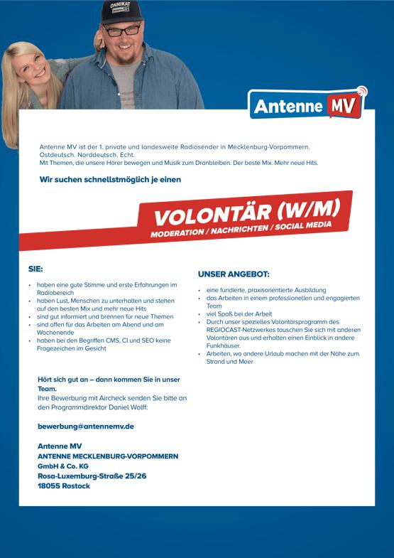 Antenne MV ist der 1. private und landesweite Radiosender in Mecklenburg-Vorpommern. Ostdeutsch. Norddeutsch. Echt. Mit Themen, die unsere Hörer bewegen und Musik zum Dranbleiben. Der beste Mix. Mehr neue Hits. Wir suchen schnellstmöglich je einen Volontär (w/m) für Moderation, Nachrichten, Social Media.