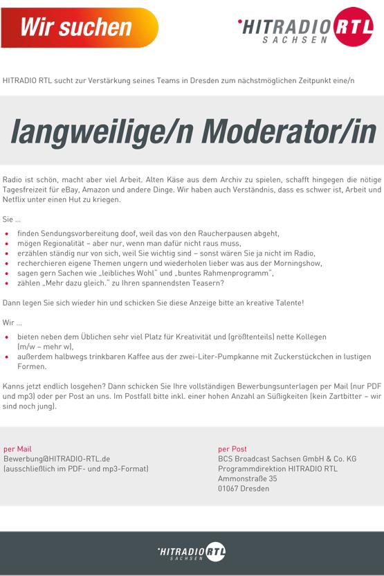 HITRADIO RTL sucht eine/n langweilige/n Moderator/in