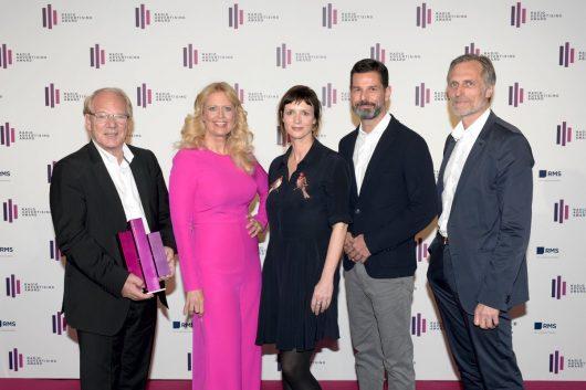 Lutz Kuckuck (Radiozentrale), Barbara Schöneberger, Jury-Präsidentin Britta Poetzsch (Chief Creative Officer, TRACK GmbH), Oliver Adrian (AS&S Radio), Matthias Wahl (RMS)