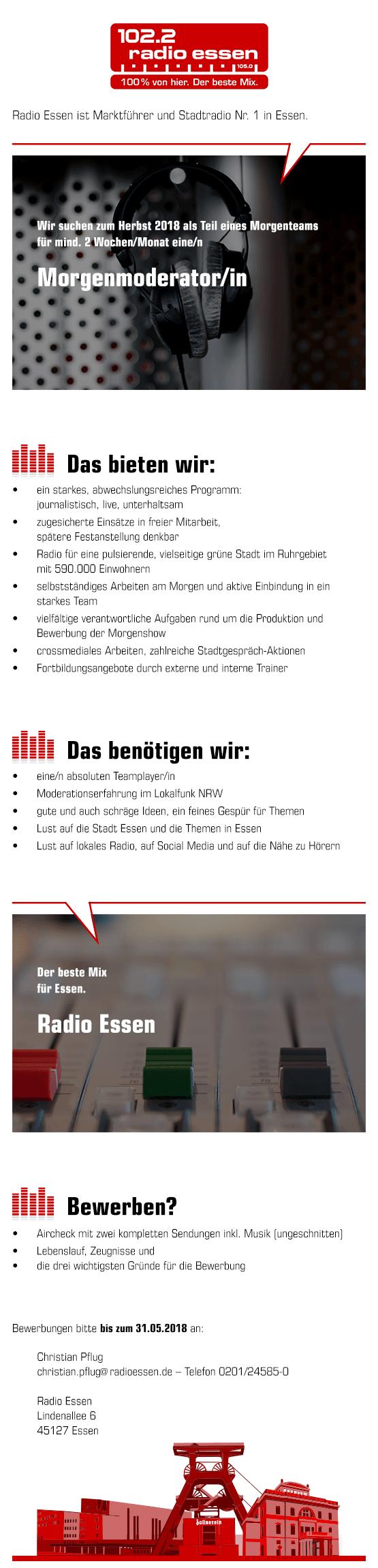 Radio Essen – Marktführer und Stadtradio Nr. 1 im Essen – sucht zum Herbst 2018 für mindestens 2 Wochen/Monat eine/n Morgenmoderator/in.