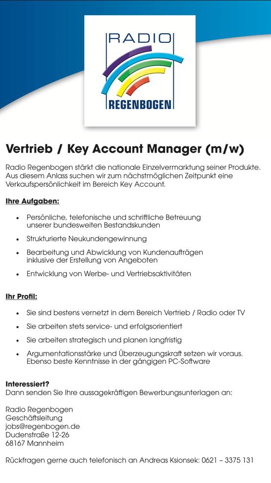Radio Regenbogen sucht Vertrieb / Key Account Manager (m/w)