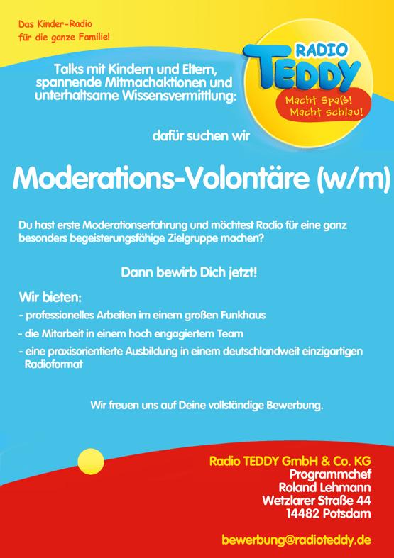 Radio TEDDY sucht Moderations-Volontäre (w/m)