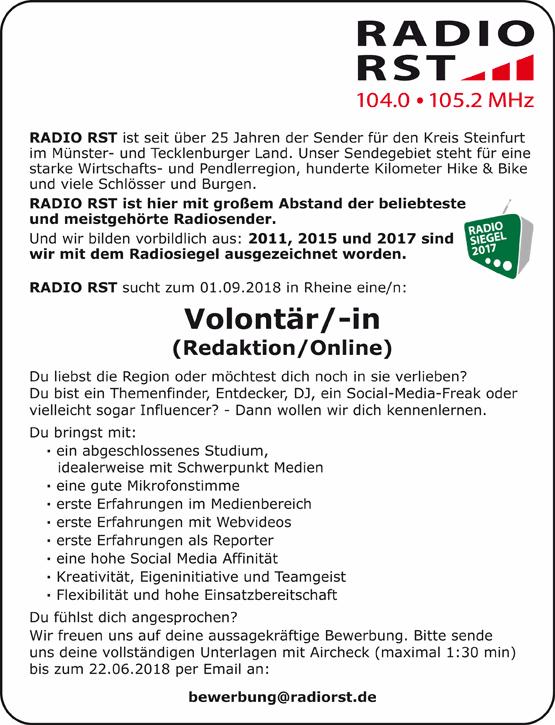 RADIO RST sucht zum 1. September 2018 in Rheine eine/n Volontär/in