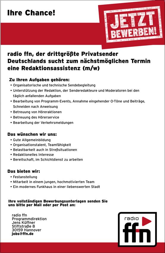radio ffn sucht Redaktionsassistenz (m/w)
