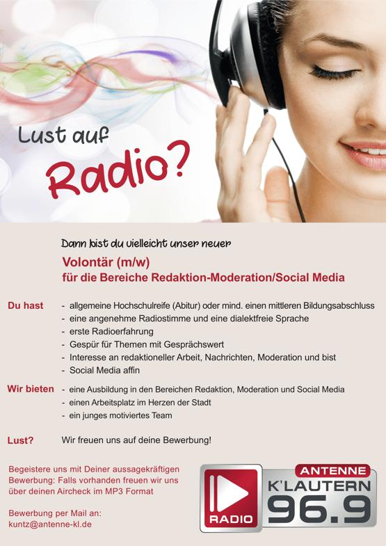 Lust auf Radio? Antenne Kaiserslautern sucht eine/n Volontär/in für die Bereiche Redaktion-Moderation/Social Media