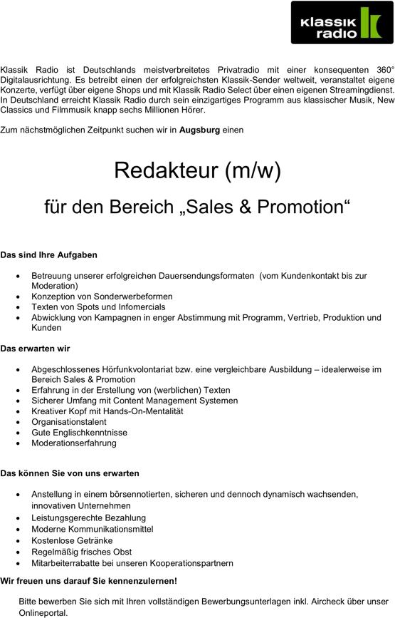 """Klassik Radio sucht zum nächstmöglichen Zeitpunkt in Augsburg einen Redakteur (m/w) für den Bereich """"Sales & Promotion""""."""