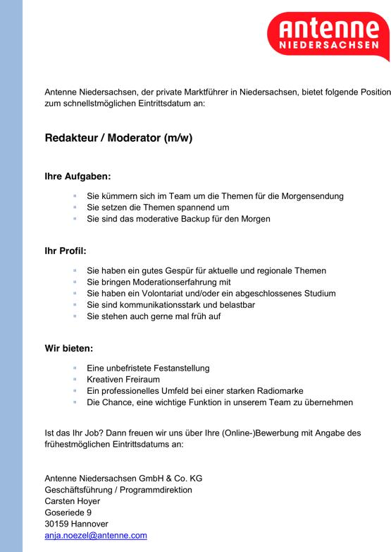 Antenne Niedersachsen der private Marktführer in Niedersachsen, sucht zum schnellstmöglichen Eintrittsdatum an 1 Redakteur / Moderator (m/w).