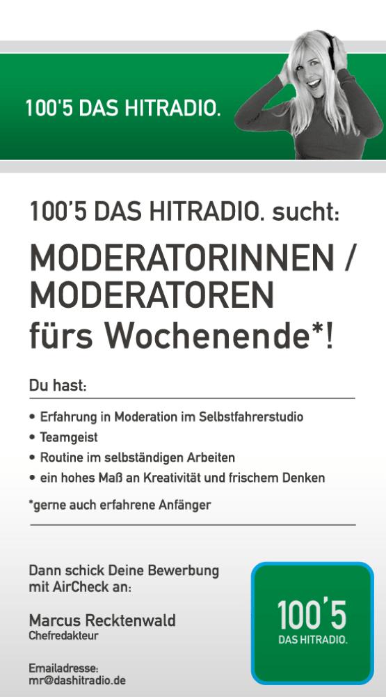 100'5 DAS HITRADIO. sucht Moderatoren und Moderatorinnen für das Wochenende