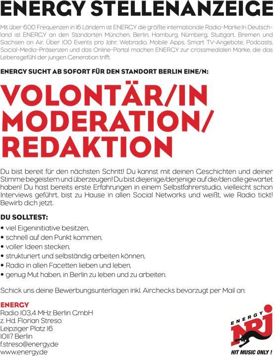 energy berlin sucht volont r in moderation redaktion radioszene. Black Bedroom Furniture Sets. Home Design Ideas