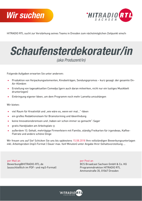 HITRADIO RTL sucht Schaufensterdekorateur/in