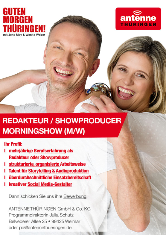 ANTENNE THÜRINGEN sucht Redakteur/Showproducer/Morningshow (m/w)