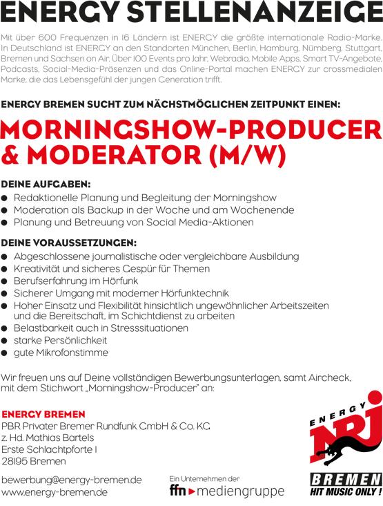 ENERGY Bremen sucht zum nächstmöglichen Zeitpunkt einen Morningshow-Producer und Moderator (m/w)