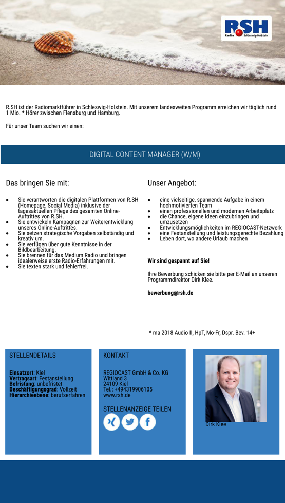 R.SH sucht Digital Content Manager (m/w)