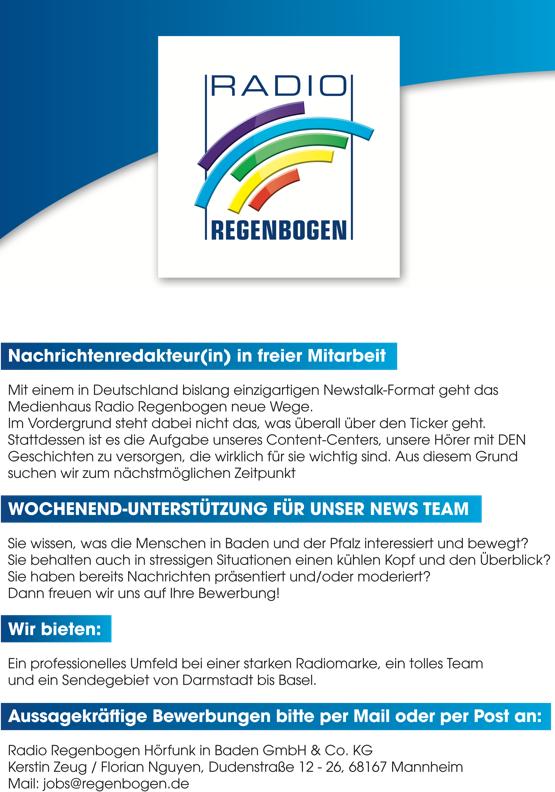 Radio Regenbogen sucht Nachrichtenredakteur/in in freier Mitarbeit und Wochenend-Unterstützung für News Team