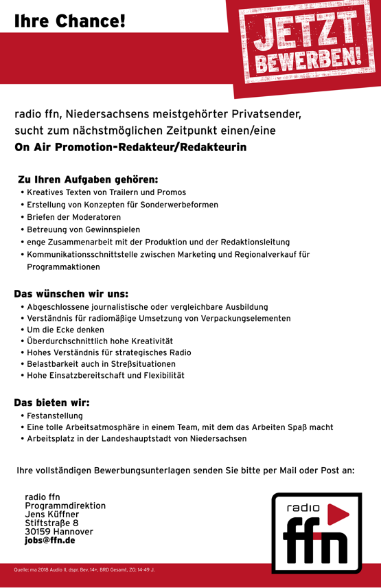 radio ffn sucht On Air Promotion-Redakteur/in